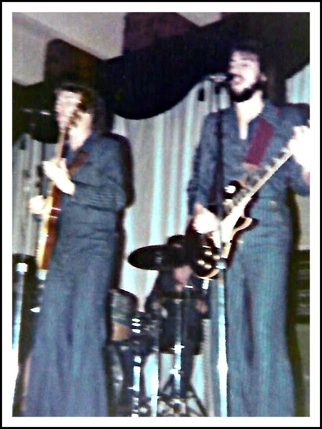 Joe Shear, John Randall Smith, and Uncle Dave decked out in blue pinstripe at the Man O' War.  Chattanooga TN, 1977