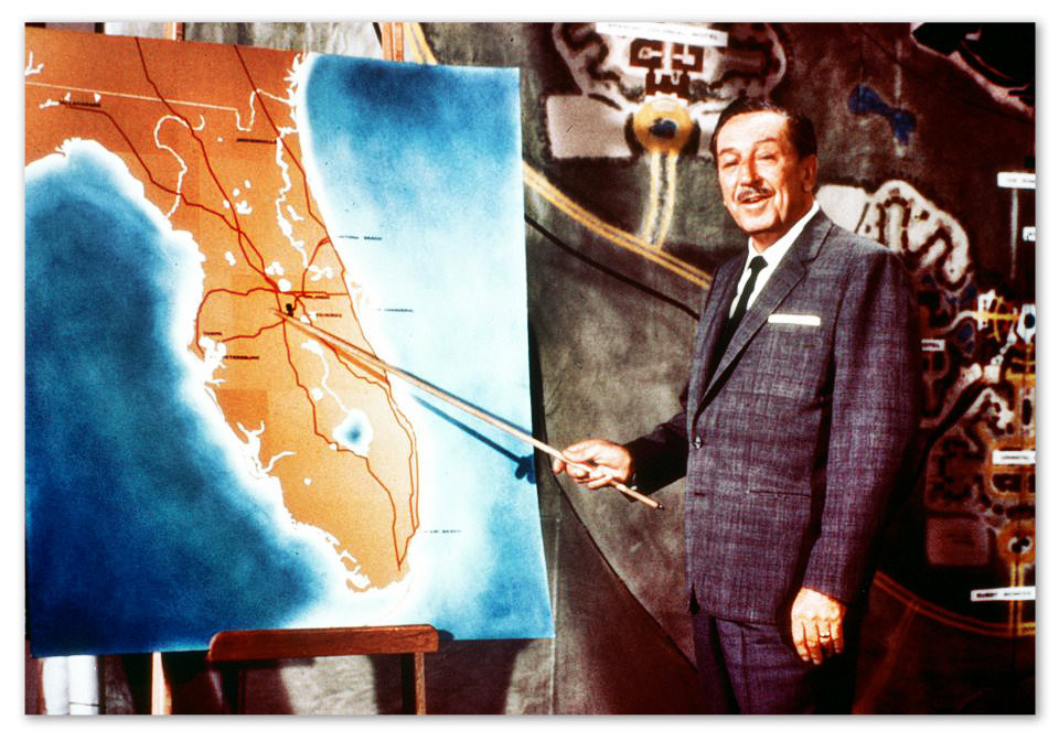 Walt Disney laying out his plan for E.P.C.O.T. in 1966.