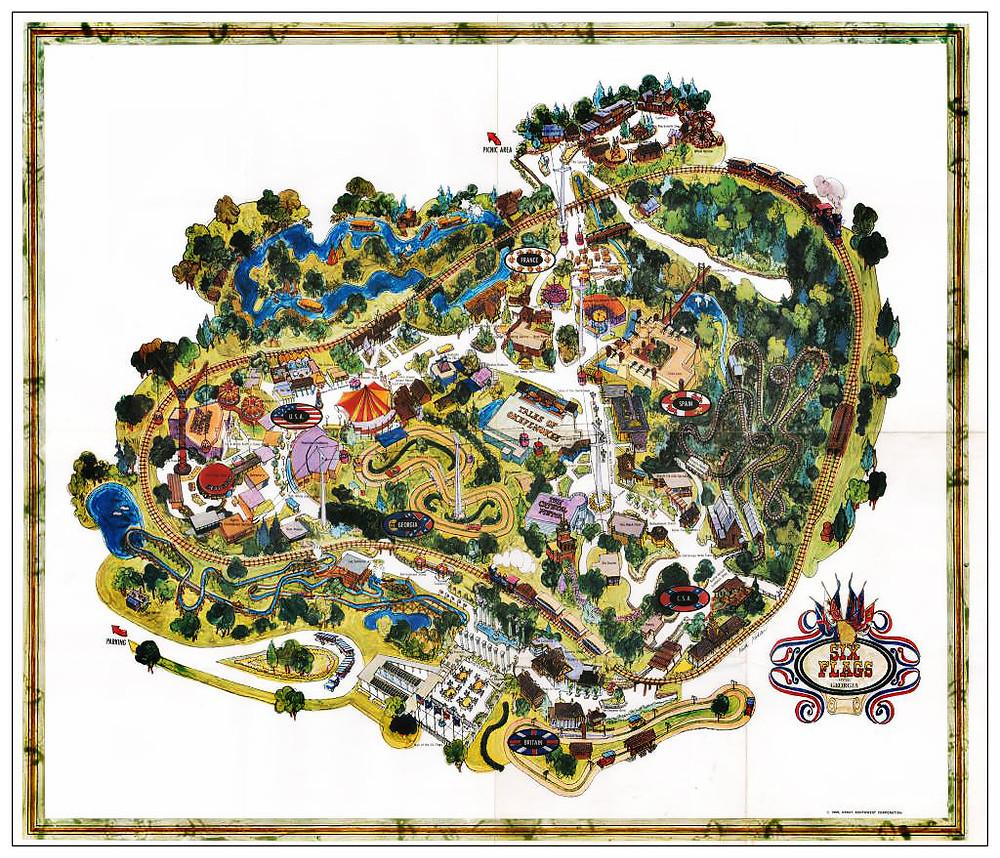 Souvenir map of Six Flags Over Georgia.  c. 1970