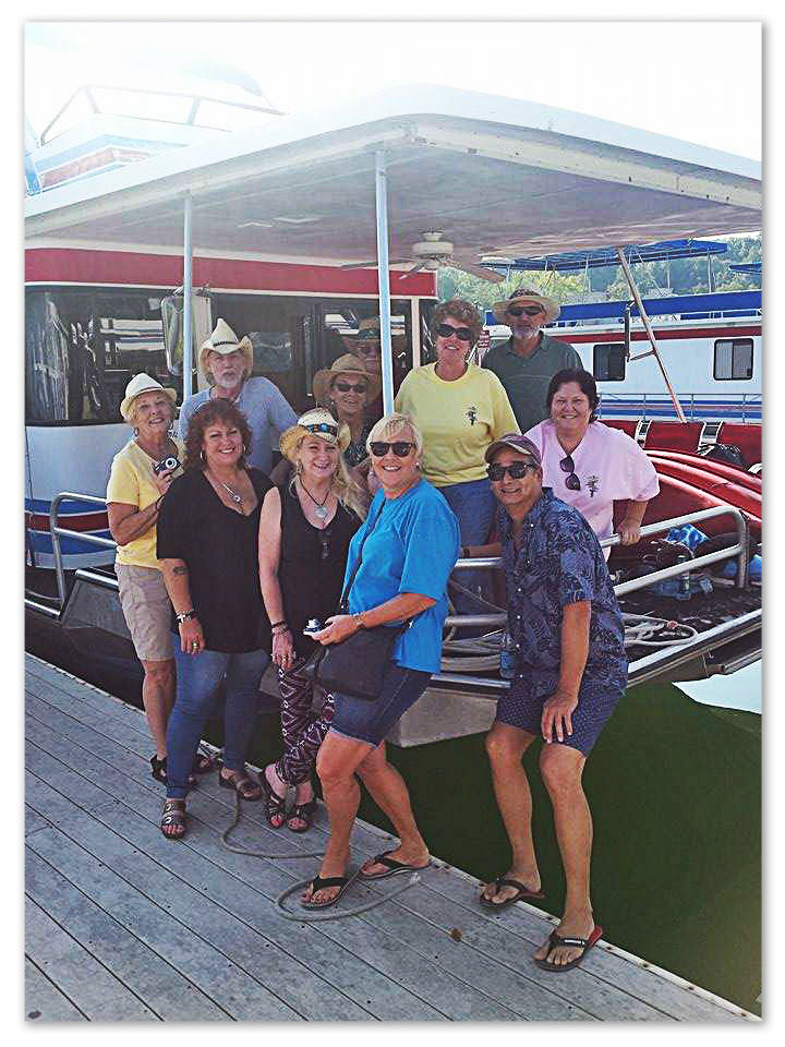 Uncle Dave's houseboat crew headed up by beautiful Lana Loback in blue. 2015