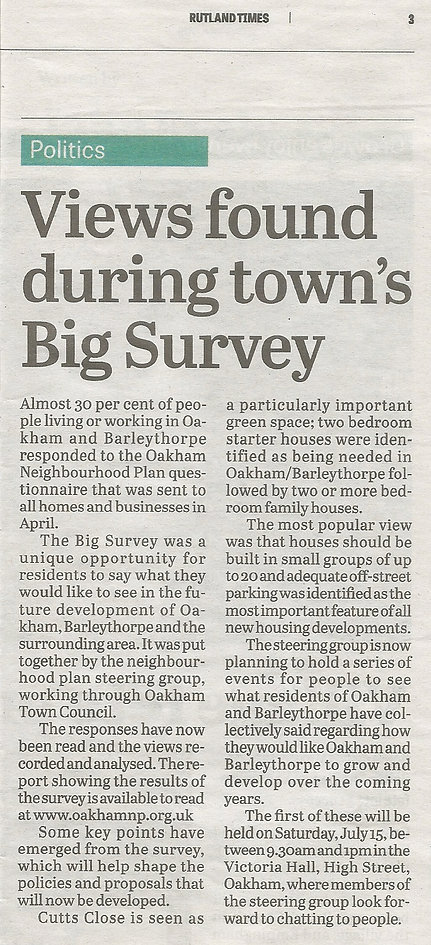 Rutland Times Big Survey Press Release 6th July 2017