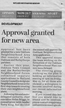 Approval granted by RCC for the new Oakham Neighbourhood Area. April 2016