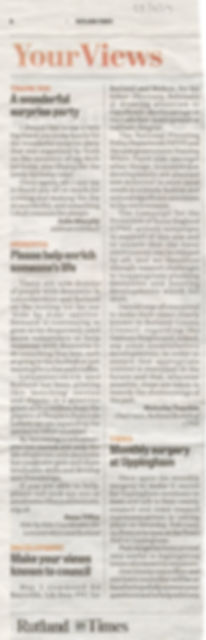 Rutland Times press article 23022017