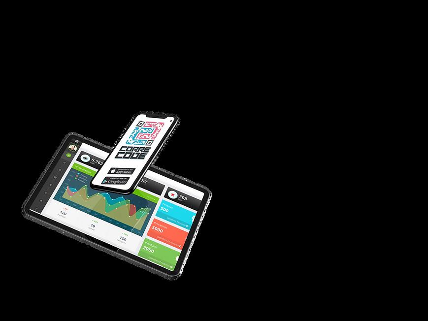 computador com a tela inicial da plataforma axiés academy e celular com a tela de login do aplicativo corre code