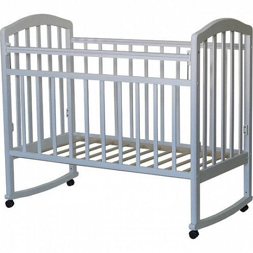 Детская кроватка Антел Алита 2 колесо+качалка Белый