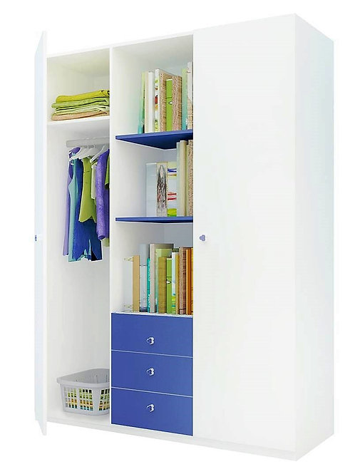 Шкаф 3-х секционный ФЕЯ белый-синий