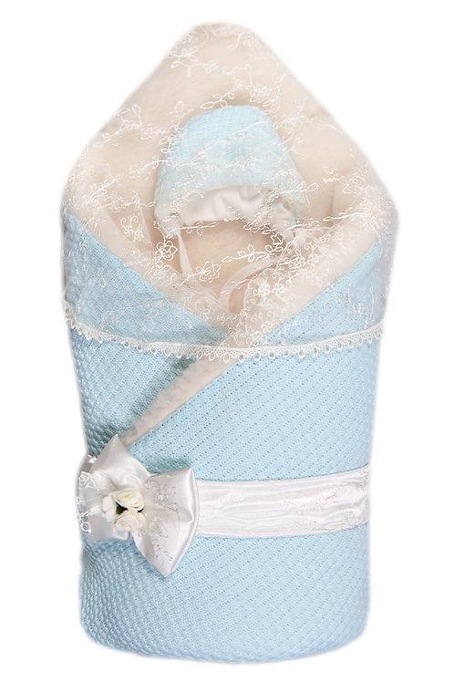 Конверт-одеяло с мехом на выписку Жемчужинка нежно-голубой