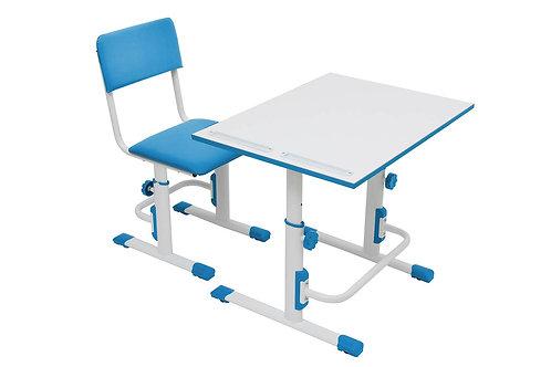 Стул+стол для школьника регулируемый Polini kids City / Polini kids белый-синий
