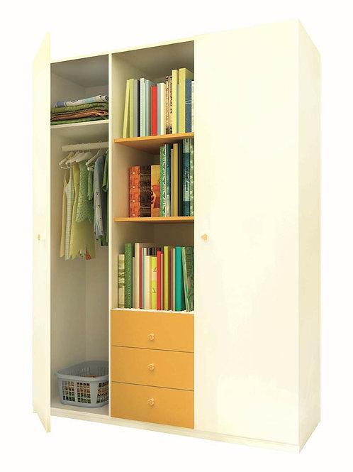 Шкаф 3-х секционный ФЕЯ белый-солнечный