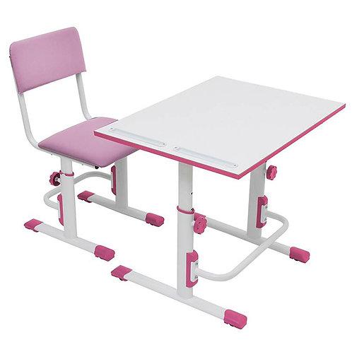 Стул+стол для школьника регулируемый Polini kids City / Polini kids белый-роз