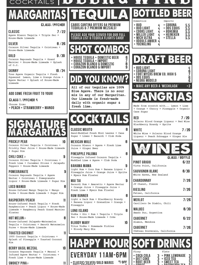 CABOS COCKTAILS BEER & WINE