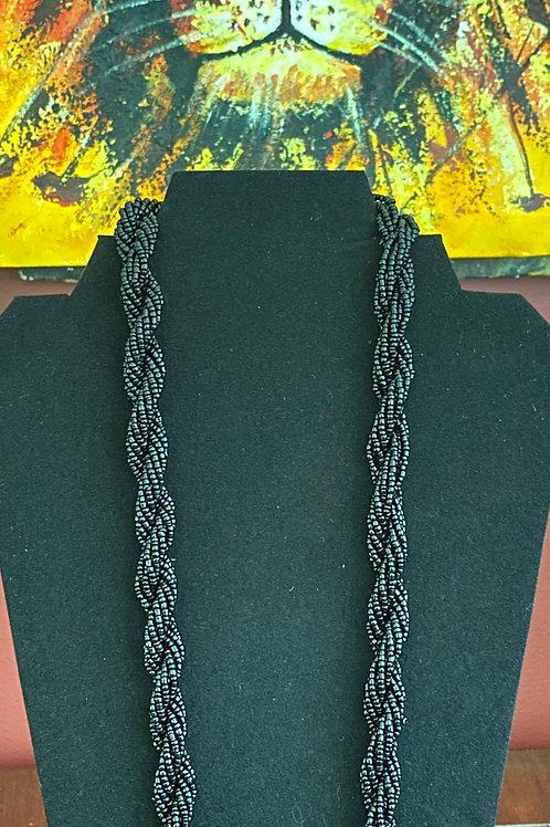 Black Bead Twist Necklace