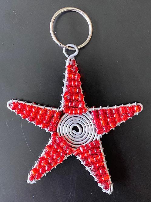 Metal Beaded Star Keychain