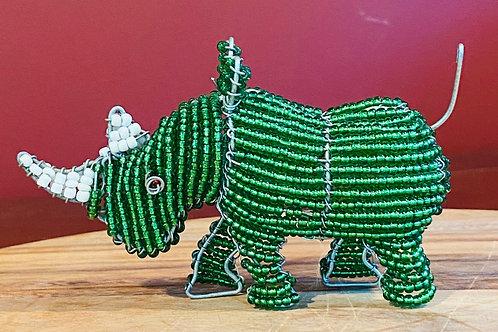 Beaded Green Rhino