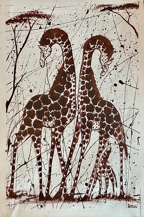 Splattered Giraffe Family