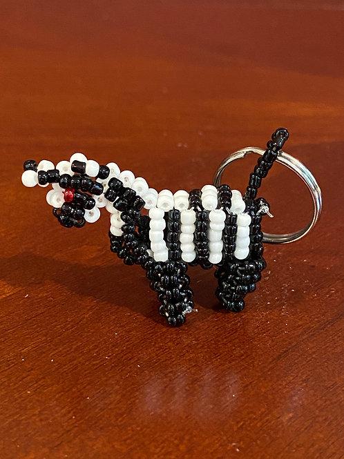 Beaded Zebra keychain