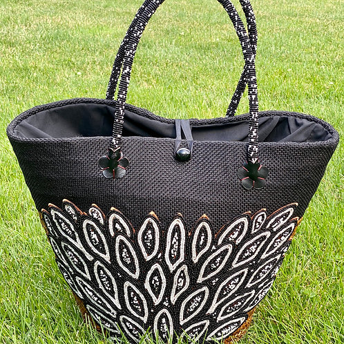 Beaded Palm Leaf Basket Tote