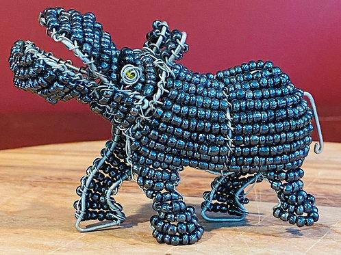 Beaded Black Hippo
