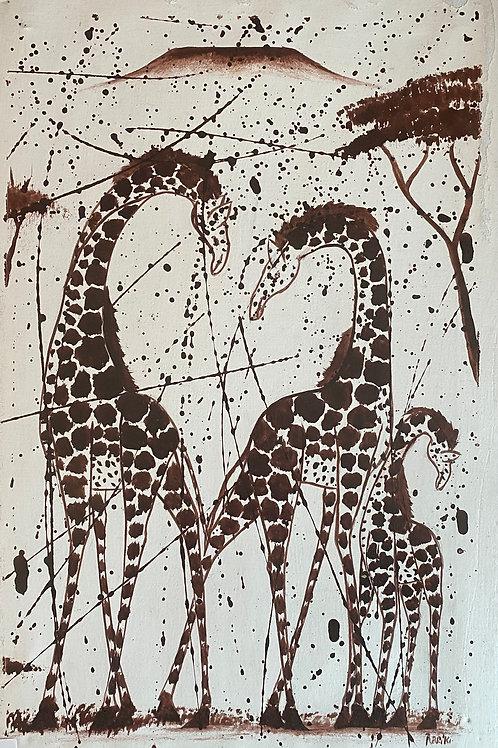 Giraffe Family Splatter Painting