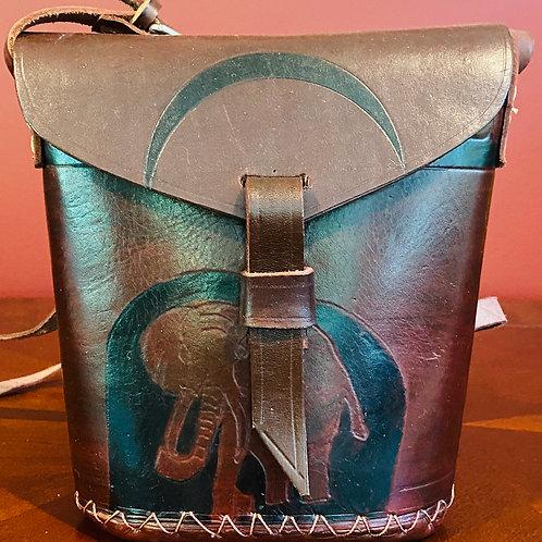 Leather Handbag with Elephant