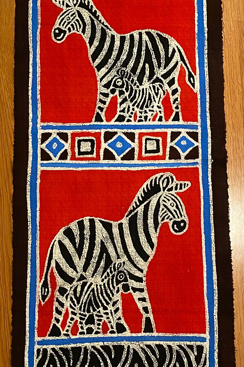 Red Zebra Wall Hanging (Table Runner)