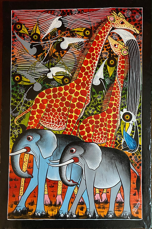 Elephants and Giraffe TingaTinga painting