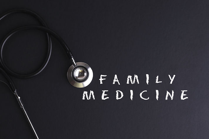 FAMILY MEDICINE up word with stethoscope