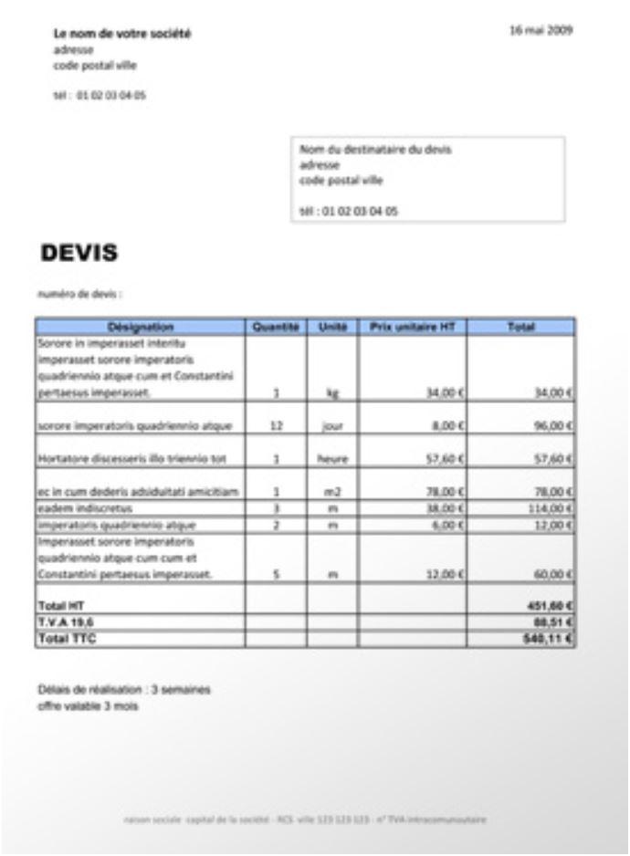 DEVIS D'UN ARTISAN