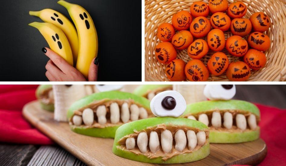 Süsse Snack Ideen für Halloween oder für die Gruselparty mit Kindern. Bananen Geister, gruselige Mandarinen Kürbisse mit Gesichter, lustige Monster aus Apfel, Erdnussbutter, Nüsse und Marshmallows