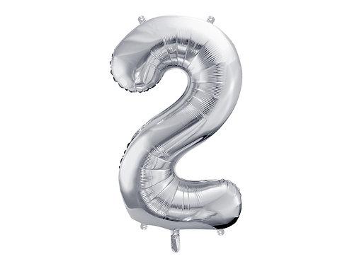 XL Folienballon Zahl 2 silber 86cm