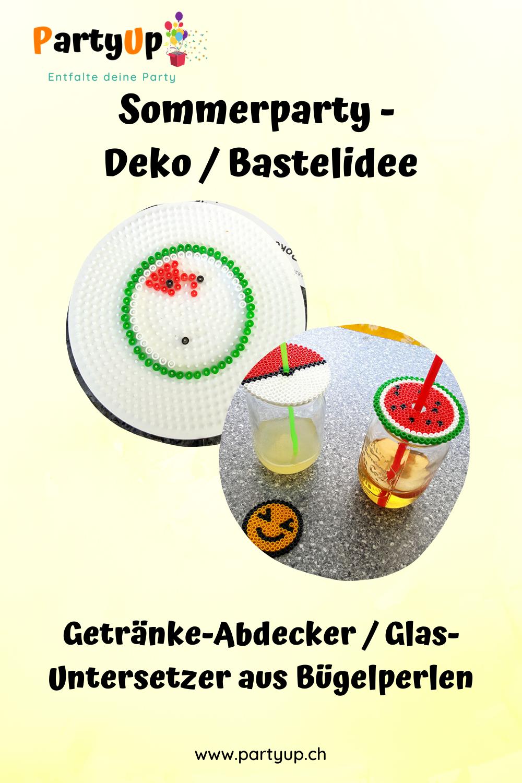 Pinterest Pin Sommerparty Getränke-Abdecker aus Bügelperlen