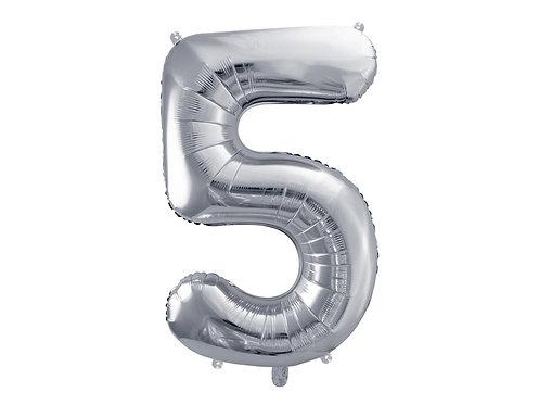 XL Folienballon Zahl 5 silber 86cm