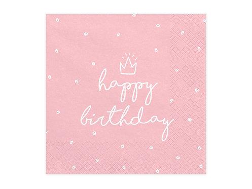 Serviette Happy Birthday rosa