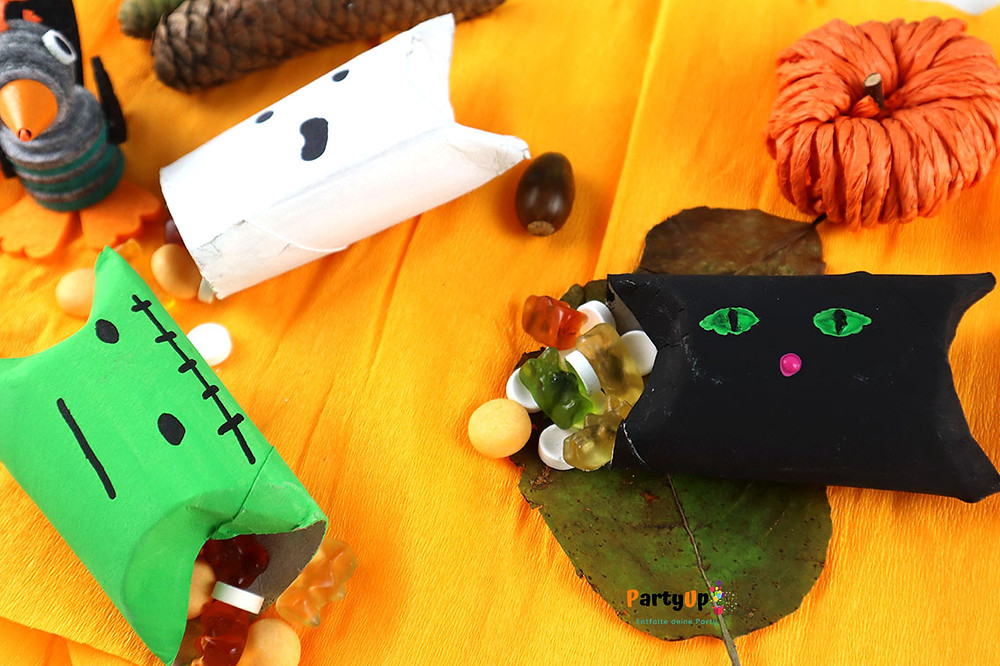 Halloween Mitgebsel / Gastgeschenk Verpackungen Anleitung für die Verpackungen aus Klopapierrollen (Wc-Rollen)