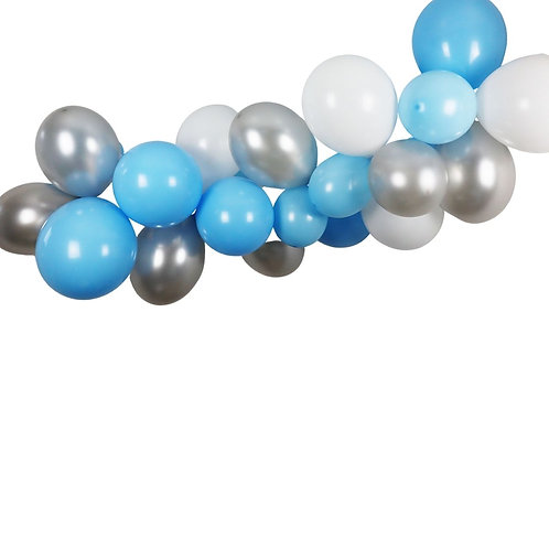 Ballongirlande hellblau, silber und weiss