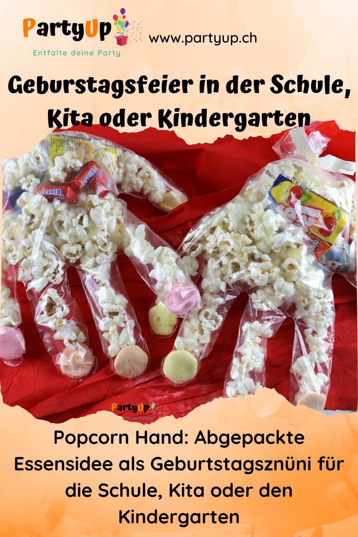 Popcorn Hand: Abgepackte Idee für den Geburtstag in der Schule, Kita (Idee für das Essen, Geburtstagsznüni, Znüni für den Kindergeburtstag), auch für Halloween als Gastgeschenk, Mitgebsel geeignet.