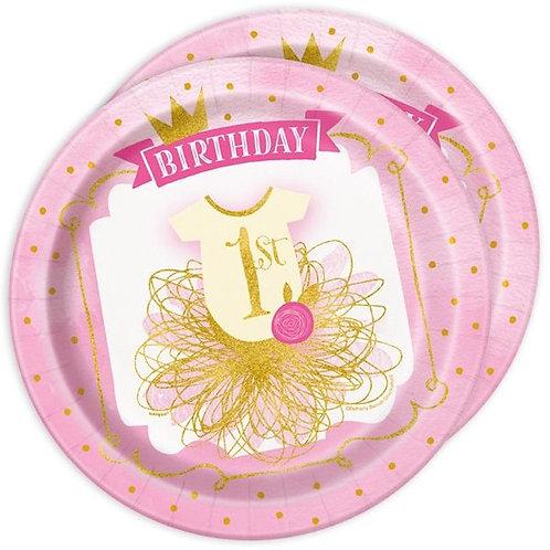 Teller 1. Geburtstag für Mädchen