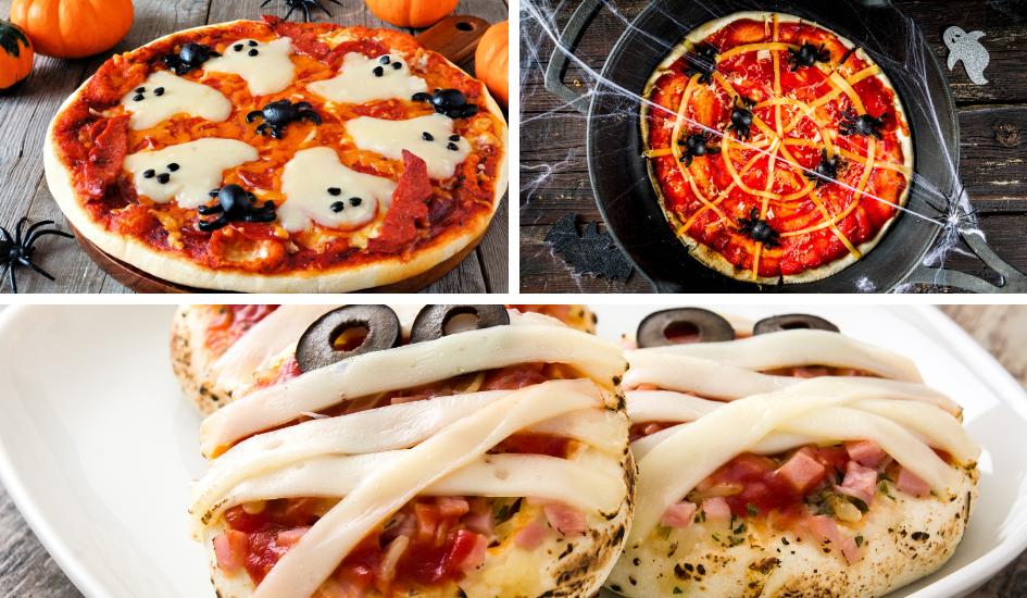 Halloween Gruselparty Ideen für das Essen: Ideen zum Belegen der Pizza als Spinnennetz mit Spinnen, als Geister oder Mini-Pizzen als Mumien