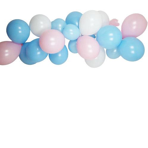 Ballongirlande rosa, hellblau und weiss