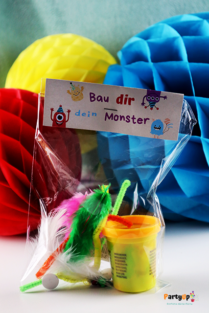 """Monsterparty Geschenkidee / Mitgebsel """"Bau dir dein Monster"""" aus Knete"""