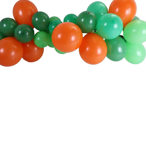 Ballongirlande orange, hellgrün und grün