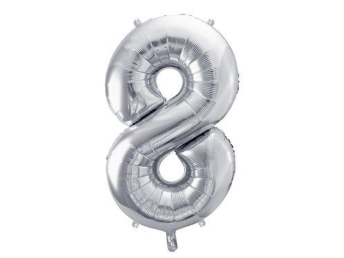 XL Folienballon Zahl 8 silber 86cm