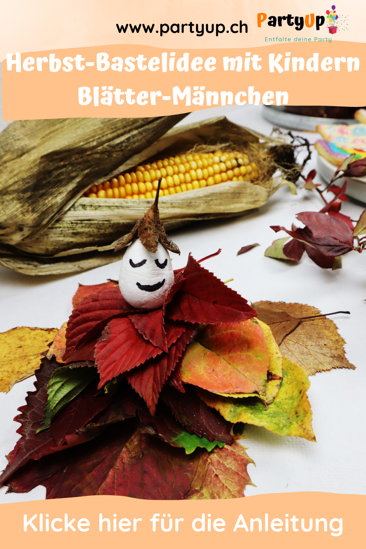 Bastelidee für den Herbst Blätter Männchen zum basteln mit Kindern im Herbst oder an einem Kindergeburtstag eine Party zum Geburtstag im Herbst. Tolle Beschäftigungsidee. Auch als Herbst Deko (Dekoration) geeignet.