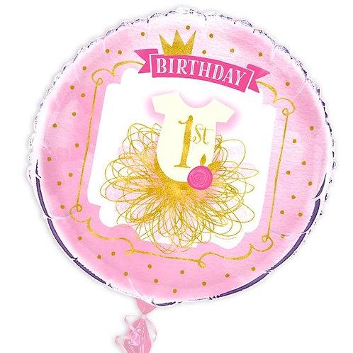 Folienballon 1. Geburtstag rosa/gold