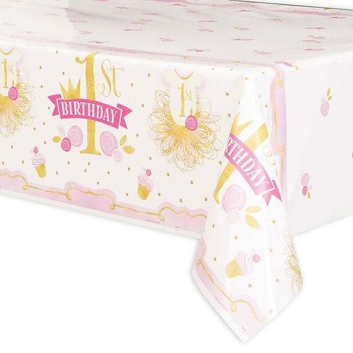 Tischdecke 1. Geburtstag rosa-gold