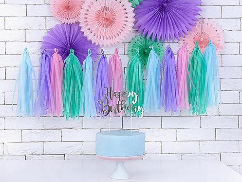 Tassel Girlande rosa, lila, blau und grün