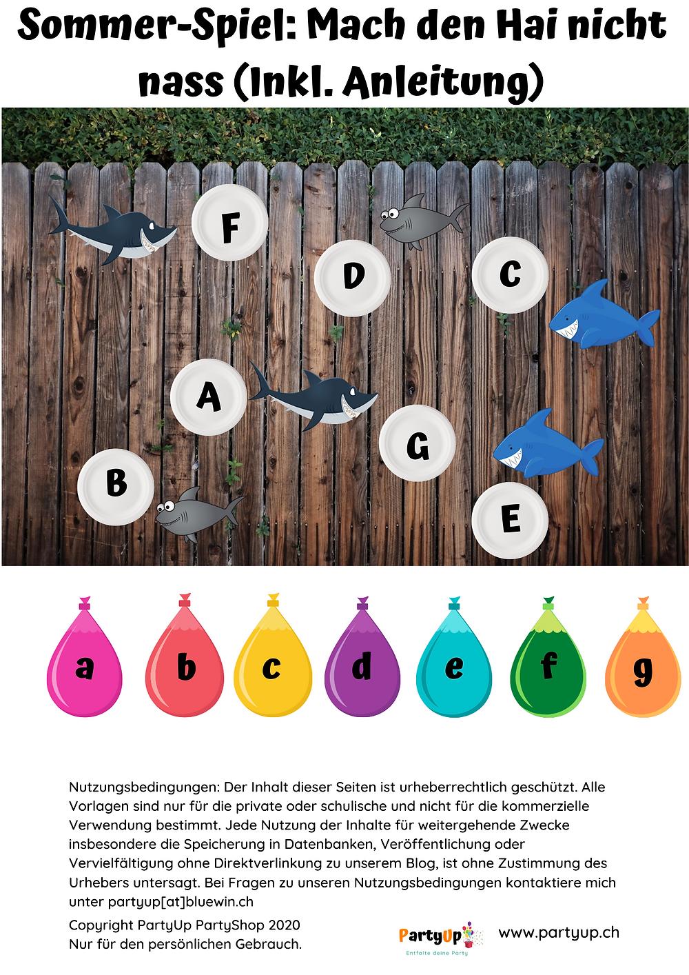 Sommerspiel für draussen (Garten) mit Wasserbomben (Mach den Hai nicht nass) auch als Spielidee zum Geburtstag draussen geeignet. Gratis Vorlage inkl. Anleitung zum herunterladen