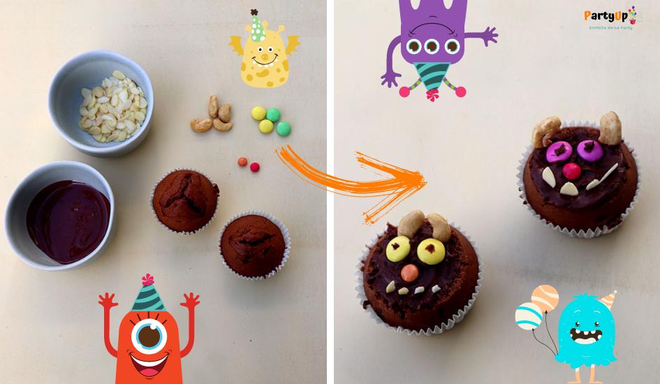 Anleitung Monster Muffin Rezept für die Monsterparty zum Kindergeburtstag mit dem Motto Monster