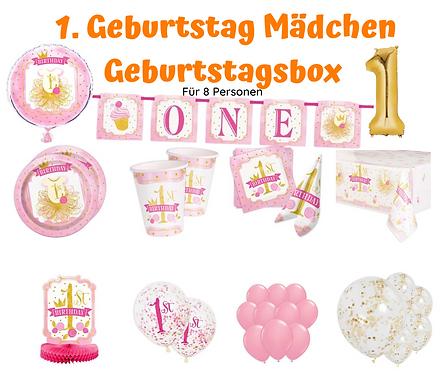 Geburtstagsbox 1. Geburtstags rosa-gold für 8 Personen