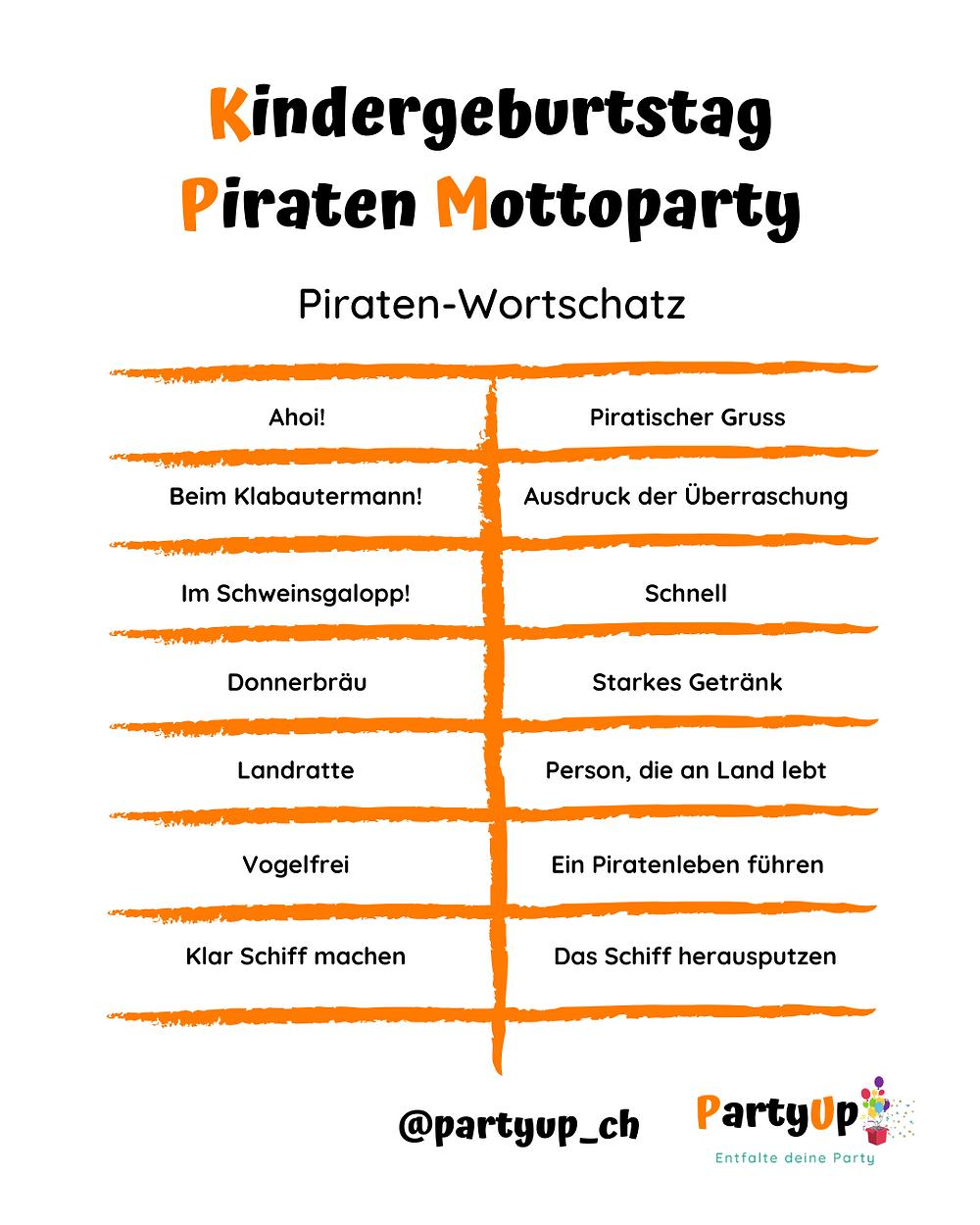 Liste der wichtigsten Piraten Wörter zum Kindergeburtstag